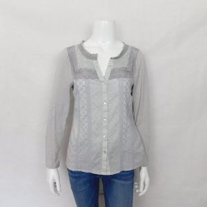 Meadow Rue Boho Embroidered Lace Button Blouse Top